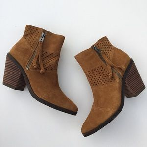 Lucky Brand Ramses Leather Perforated Ankle Boots